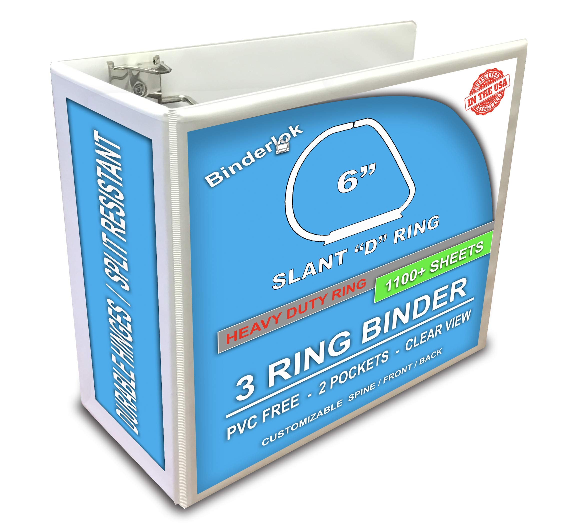 3 Ring Binder, Professional D Ring 6 Inch Binder, Presentation Folder 8.5 x 11 With Pockets, Clear View White Binder by Ring Binder Depot