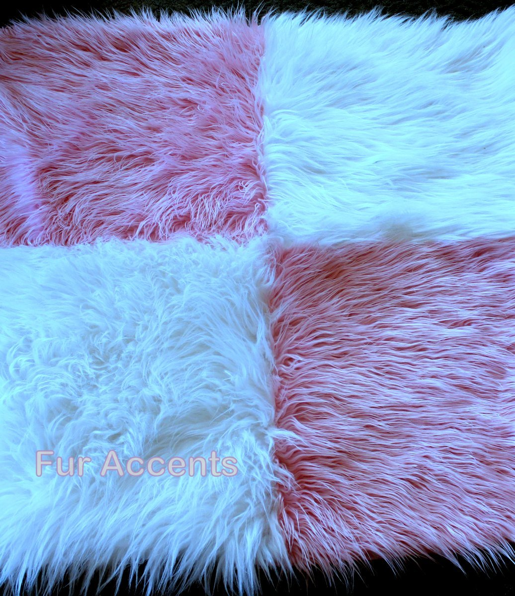 Fur Accents Mongolian Sheepskin Accent Rug / Mongolian Long Hair Faux Fur / Cotton Candy Pink and White Patchwork Quilt Squares /40'' X 60''