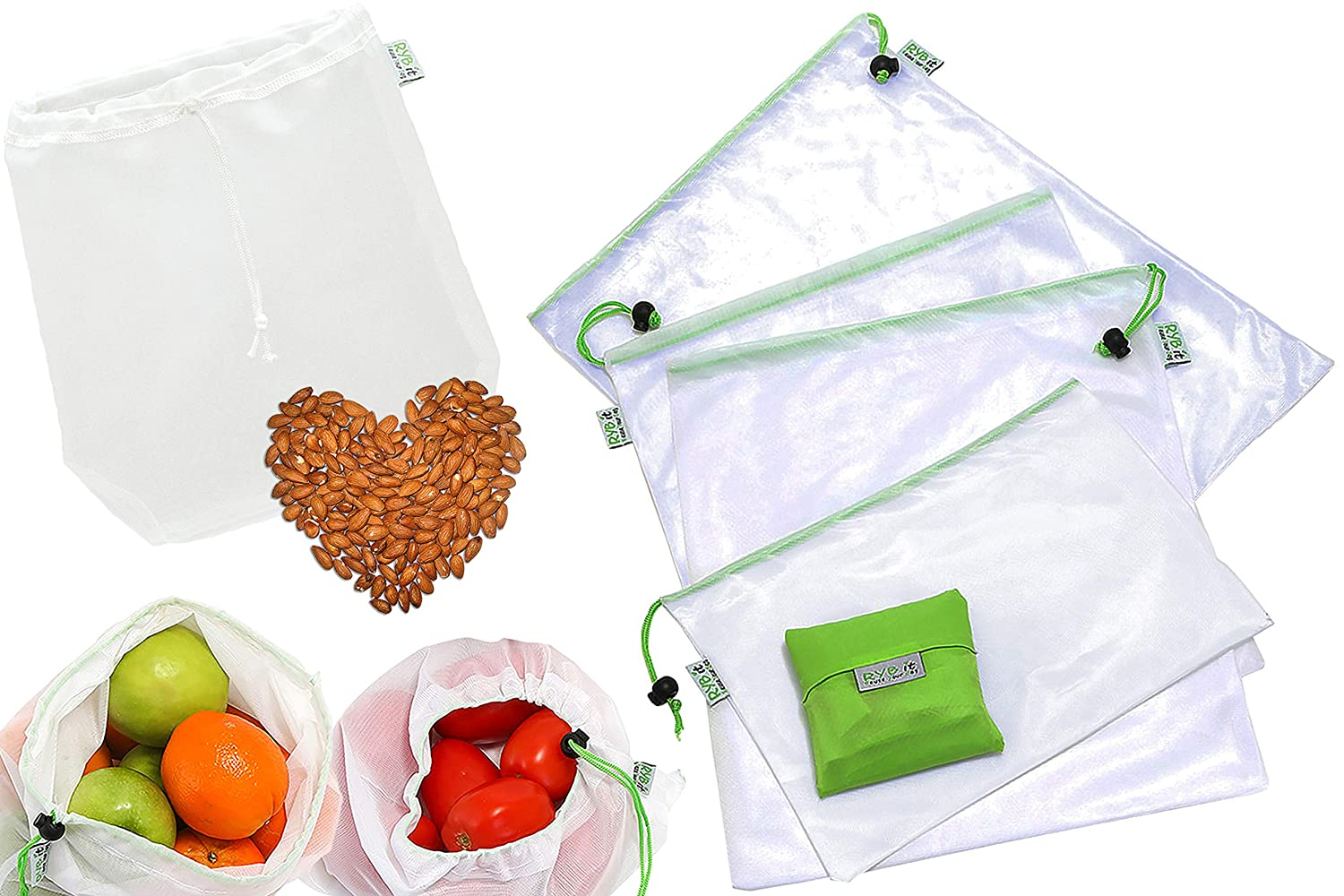 RYBit Reusable Mesh/Produce Bags Set of 9, 1 Nutmilk Bag, 1 Bonus Shopping Grocery Tote, Eco Friendly Bags Great for Storage of Produce Fruit/Vegetable, Washable