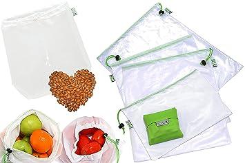 RYBit Set de 9 Bolsas de Malla Reutilizables +1 Bolsa de Leche Vegetal Nueces +1 Bolsa Compra Plegable, Guardar Frutas Verduras Juguetes Lavandería ...