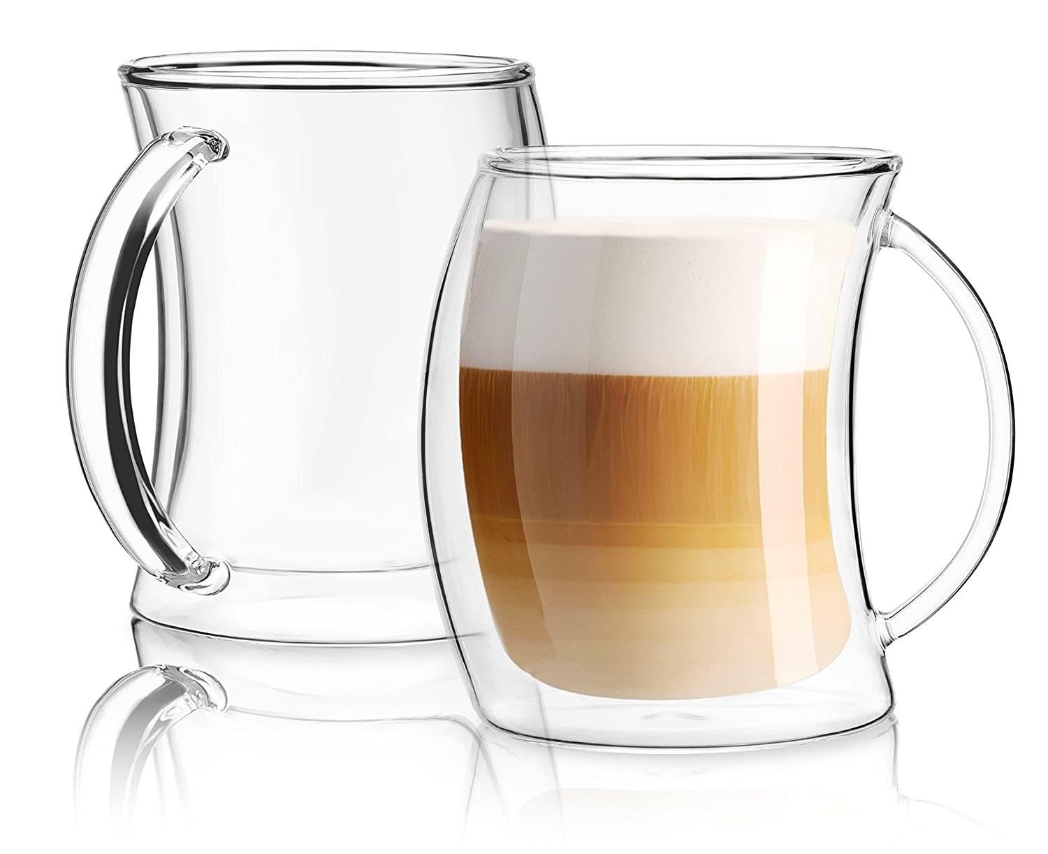 JoyJolt Caleo Collection Glass Coffee Cups Double Wall Insulated Mugs Set Of 2 (13 oz,390ml)