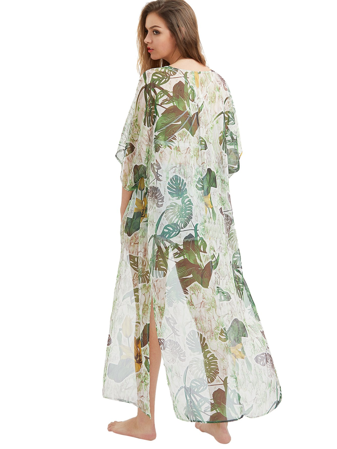2a7cb601e79 SweatyRocks Women s Flowy Kimono Cardigan Open Front Maxi Dress   Cover-Ups    Clothing
