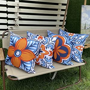 Hckot Outdoor Waterproof Throw Pillow Covers for Patio Furniture Set of 4 Floral Printed Boho Decorative Farmhouse Pillow Covers for Couch Garden Tent Balcony 18x18 inch