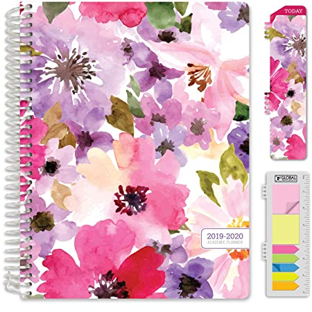 "Hardcover Academic Year 2019 2020 Planner: (July 2019 Through July 2020) 8.5""X11"" Daily Weekly Monthly Planner Yearly Agenda. Bonus Bookmark, Pocket Folder And Sticky Note Set (Spring Floral) by Global Printed Products"