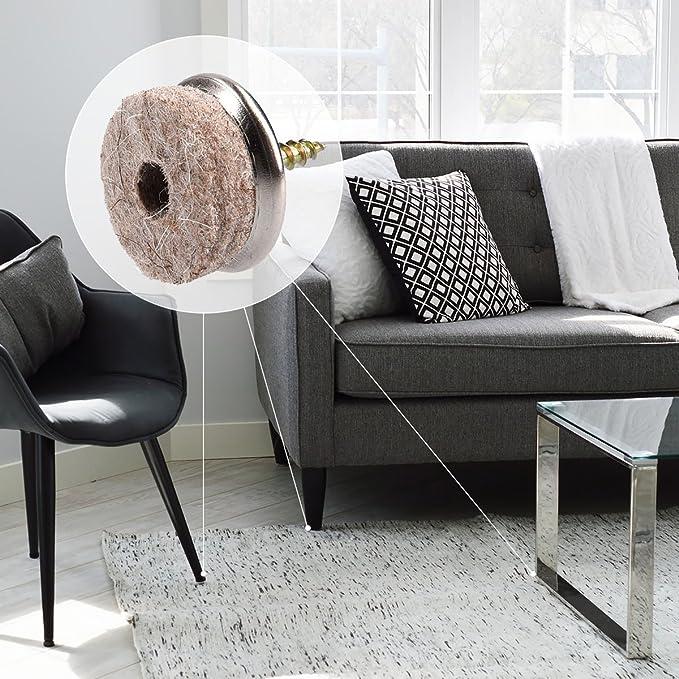 Navaris pack 20 almohadillas de fieltro para sillas - Tacos de silla y mueble acolchados y con tornillo - Amortiguador de muebles - Redondos de 20MM