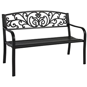 Best Choice Products 50in Outdoor Patio Garden Bench Park Yard Furniture Porch Chair w/Steel Frame - Black