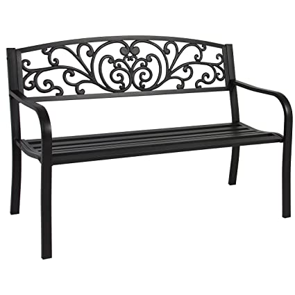 Strange Best Choice Products 50 Patio Garden Bench Park Yard Outdoor Furniture Steel Frame Porch Chair Seat Gmtry Best Dining Table And Chair Ideas Images Gmtryco