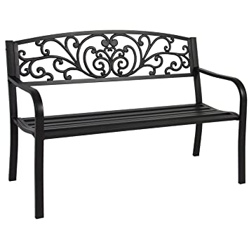 Best Choice Products 50u0026quot; Patio Garden Bench Park Yard Outdoor Furniture  Steel Frame Porch Chair