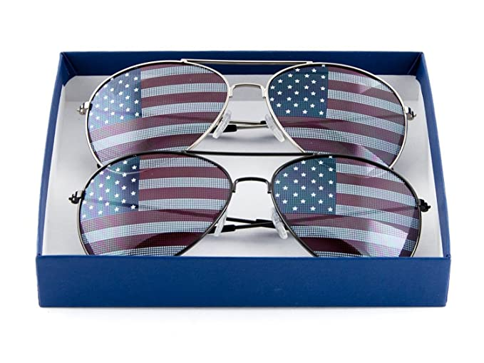 cb7932b9aed Image Unavailable. Image not available for. Color  Patriotic American Flag  Aviator Sunglasses USA ...