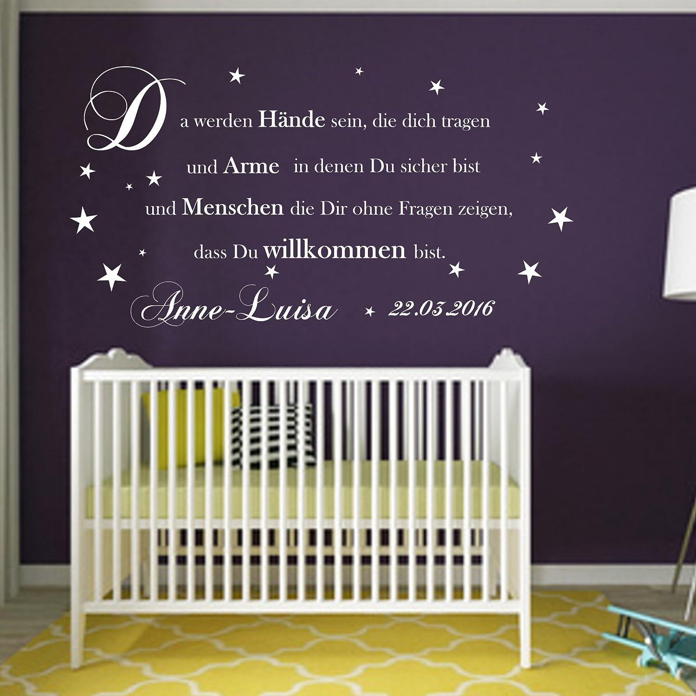Wandtattoo AA081 Kinderzimmer +Da werden Hände sein Baby Spruch personalisiert