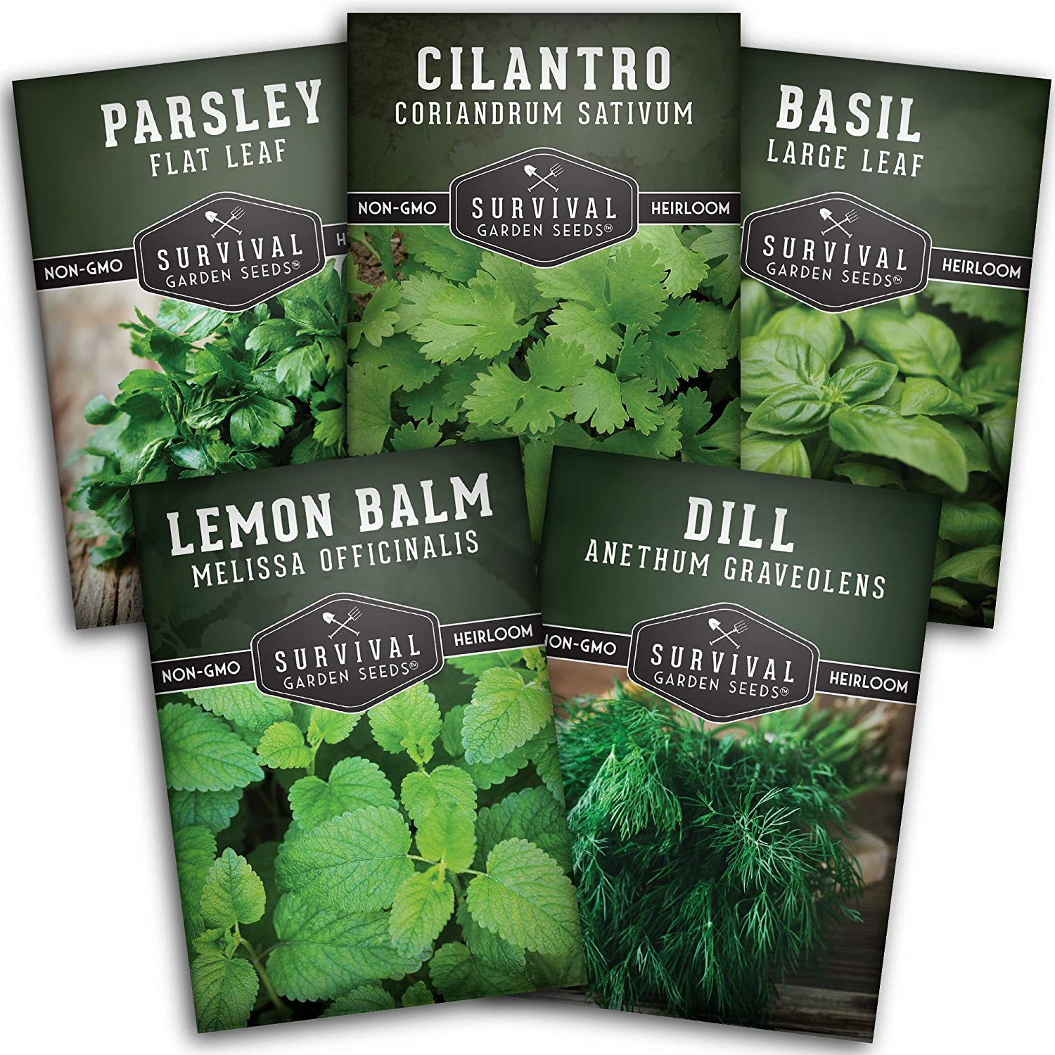 Survival Garden Seeds Herb Collection Seed Vault - Non-GMO Heirloom Survival Garden Seeds for Planting - Waterproof Packaging for Long Term Storage