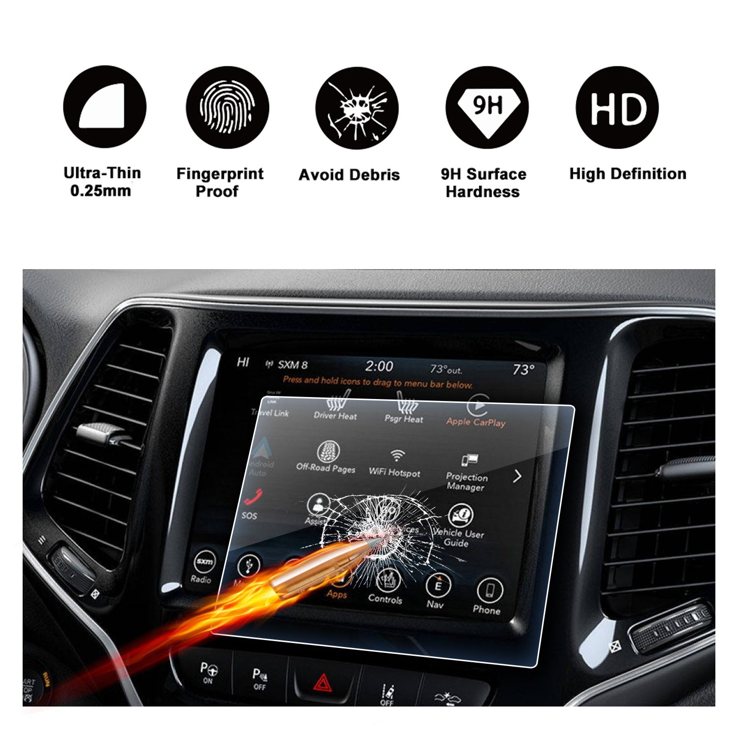 2019 Jeep Cherokee Uconnect Display Navigation Screen Protector, R RUIYA HD Clear TEMPERED GLASS Screen Guard Shield Scratch-Resistant Ultra HD Extreme Clarity (8.4-Inch)