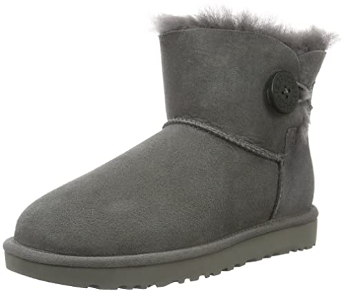 UGG Women's Mini Bailey Button Short Boots, Grey (Grigio), 3.5 UK