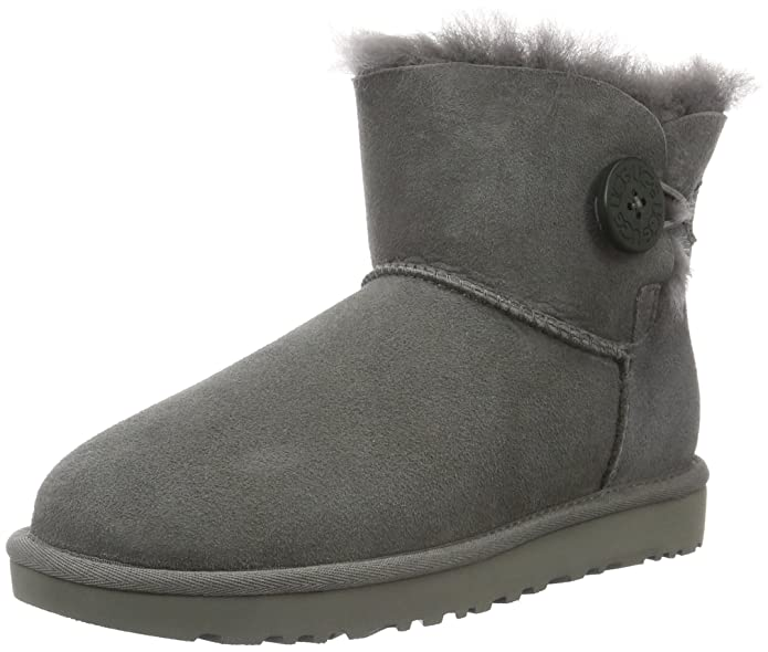 UGG Women's Mini Bailey Button II Winter Boot, Grey, 5 B US