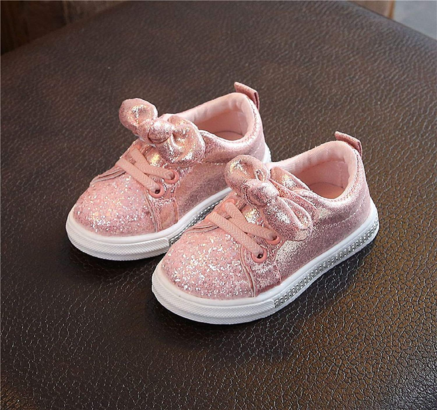 Cinhent Sneakers Shoes Girls and Boys Bling Sequins Bowknot Crystal Run Sport Sneakers Shoes Washable Athletic Sneaker for Children Baby Girls Boys