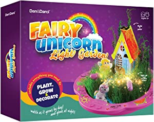 Unicorn Fairy Garden Kit for Kids - Craft & Grow Your Own Indoor Gardening - Gift for Girls & Boys : Plant a DIY Magical Enchanted Light-up Gardens - Fun STEM Crafts - Arts Toy Kit