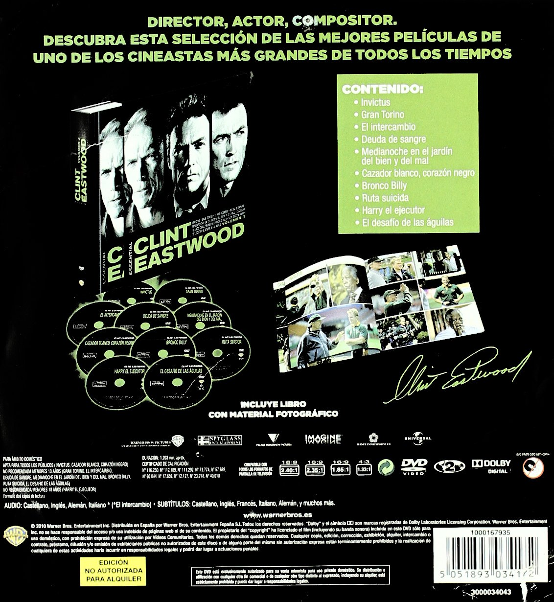 Clint Eastwood Essential Vol. 3 [DVD]: Amazon.es: Clint Eastwood, Matt Damon, Christopher Carley, Angelina Jolie, Jeff Daniels, John Cusack, Clint Eastwood, James Far, Clint Eastwood, Matt Damon: Cine y Series TV