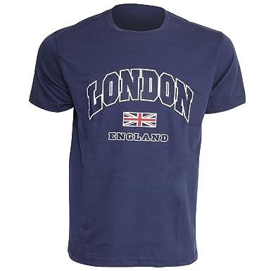 ac790320c43 Mens London England Print 100% Cotton Short Sleeve Casual T-Shirt Top   Amazon.co.uk  Clothing