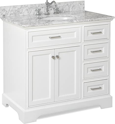 Aria 36-inch Bathroom Vanity Carrara White Includes a White Cabinet with Soft Close Drawers, Authentic Italian Carrara Marble Countertop, and White Ceramic Sink