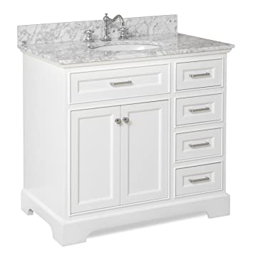 Aria 36 Inch Bathroom Vanity (Carrara/White): Includes A White Cabinet