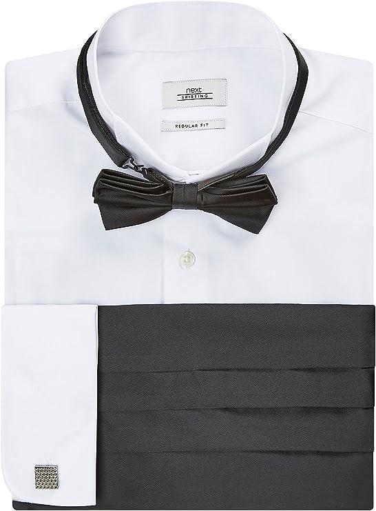 next Hombre Camisa con Cuello Tipo Pajarita con Pajarita, Fajín Y Gemelos De Corte Entallado Y Puño Doble: Amazon.es: Ropa y accesorios