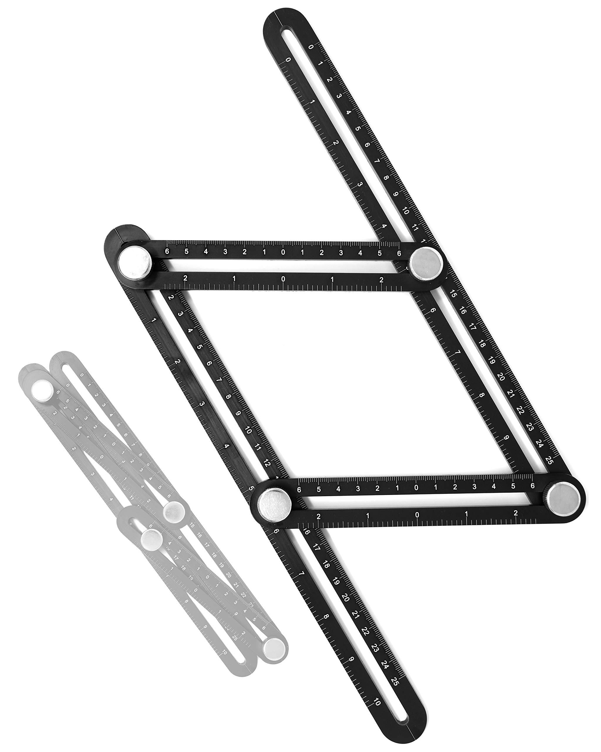 VViViD Black Heavy-Duty Multi-Angle Adjustable Four Holder Template Ruler by VViViD
