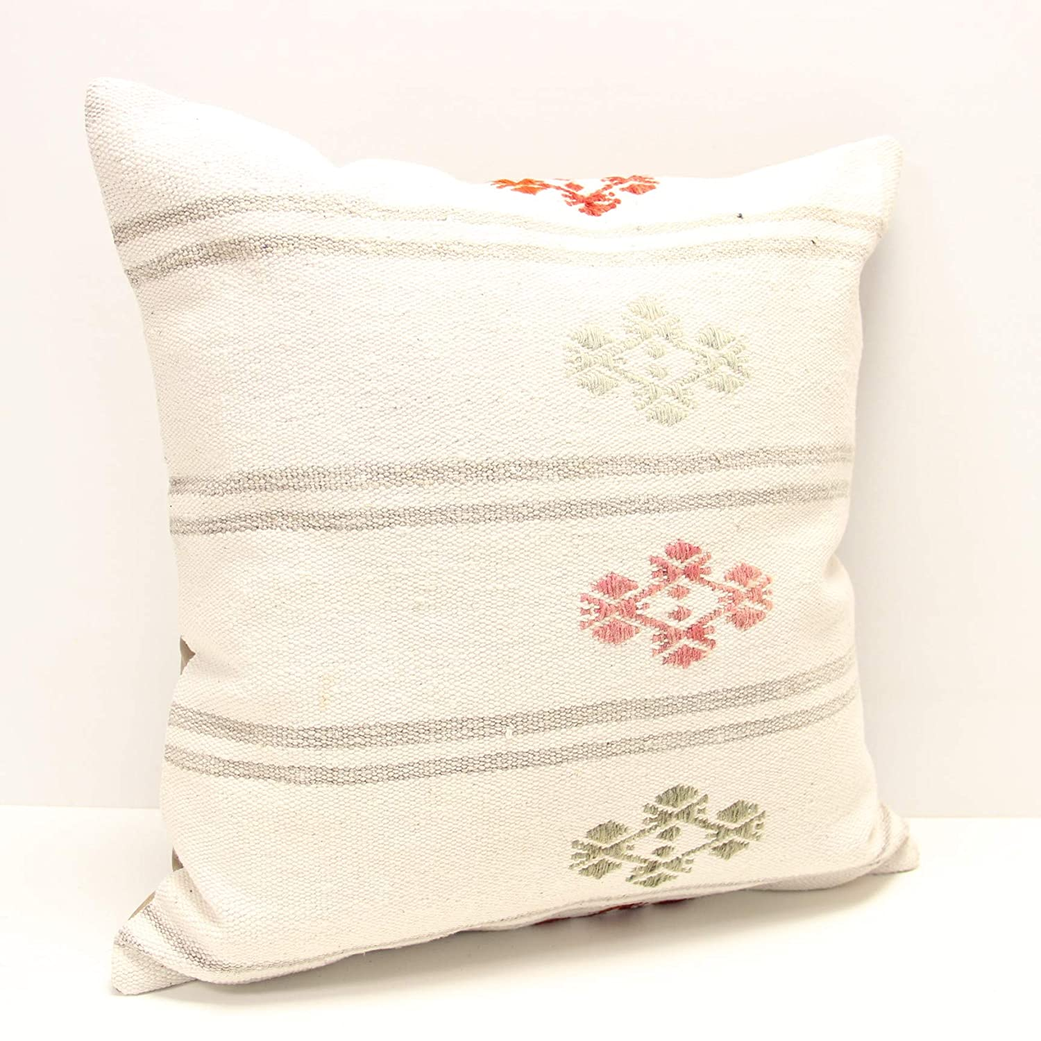 20X20 Handmade Embroidered Kilim Pillow Cover