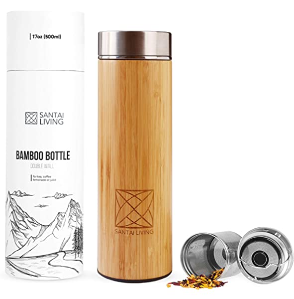 Bamboo Thermos Flask 500ml insulated Water Tumbler inc coffee tea fruit infuser