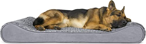 Furhaven Pet Dog Bed Orthopedic Ultra Plush Faux Fur Ergonomic Luxe Lounger Cradle Mattress Contour Pet Bed w Removable Cover for Dogs Cats, Gray, Jumbo