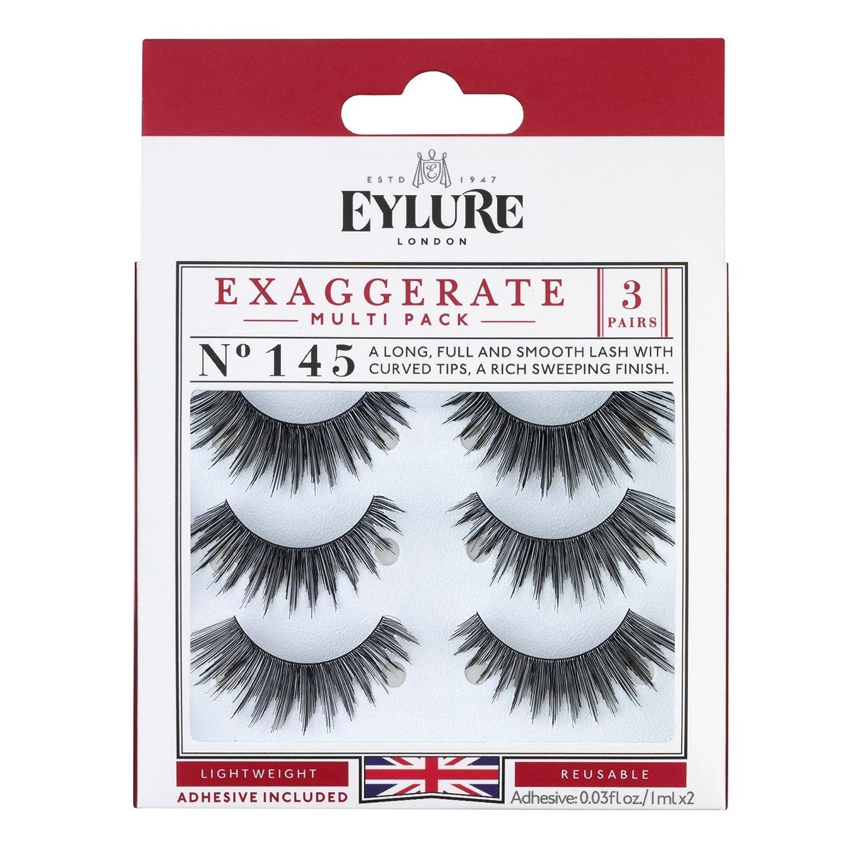 9b3075dd0be Amazon.com : Eylure Exaggerate False Eyelash Multipack, Style No. 145,  Reusable, Adhesive Included, 3 Pair : Beauty