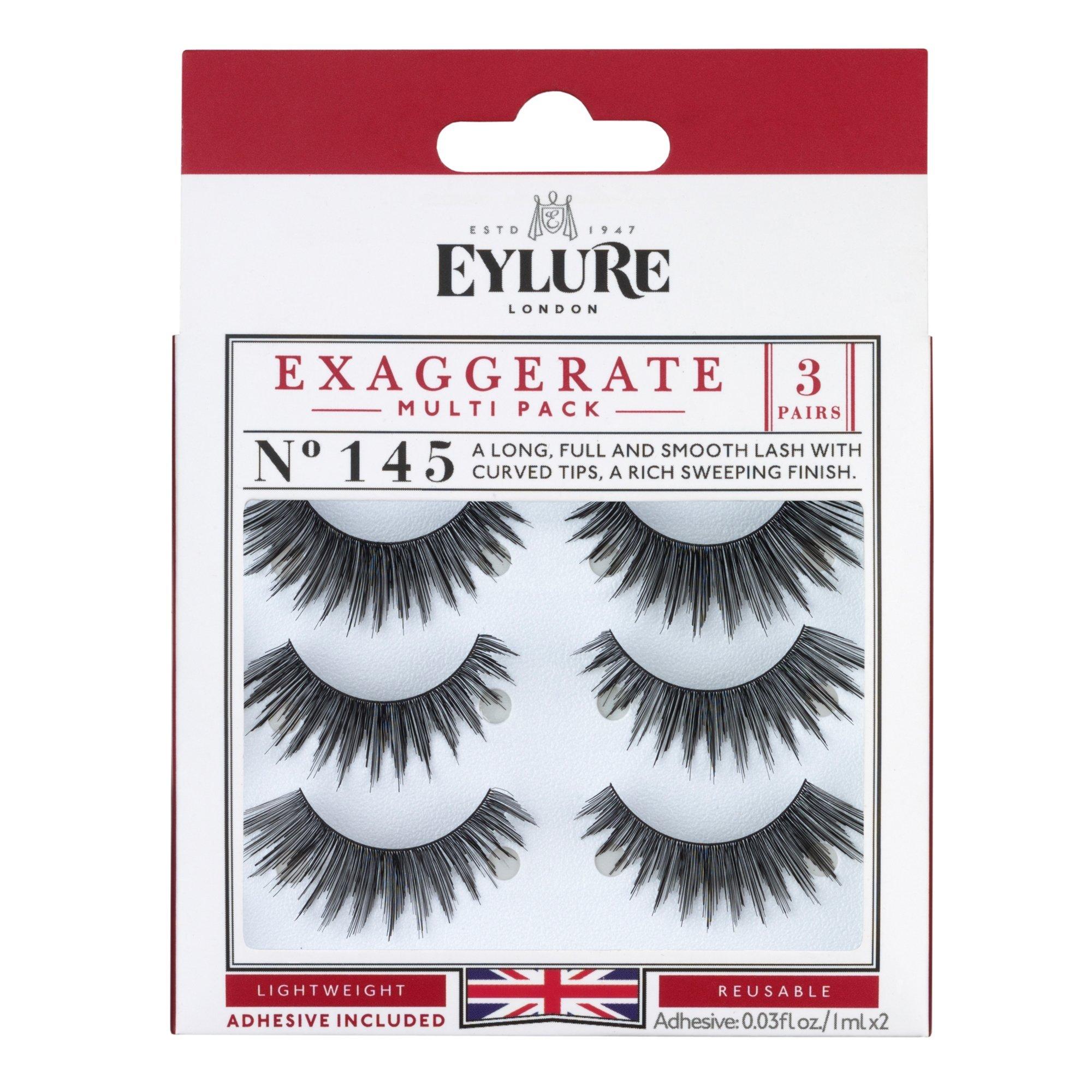 7575897b377 Eylure Exaggerate False Eyelash Multipack, Style No. 145, Reusable,  Adhesive Included,