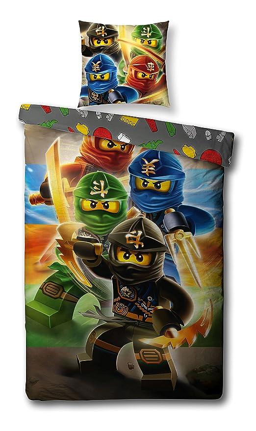 Familando Juego de ropa de cama reversible de Lego Ninjago (135x200cm y 80x80cm)