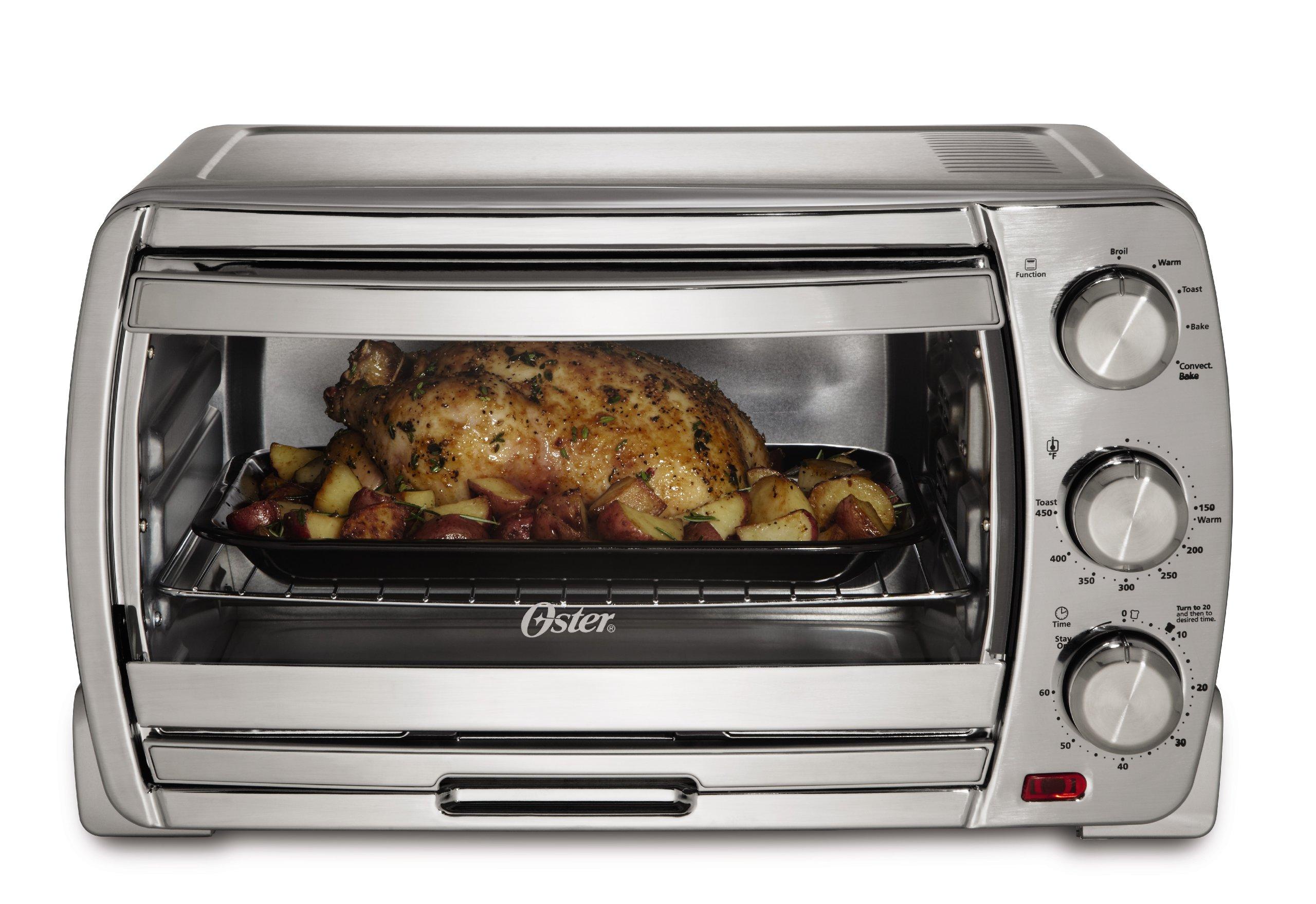 Oster Large Convection Toaster Oven, Brushed Chrome (TSSTTVSK01)