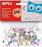 APLI - Bolsa ojos móviles pupila color redondos adhesivos, 100 uds