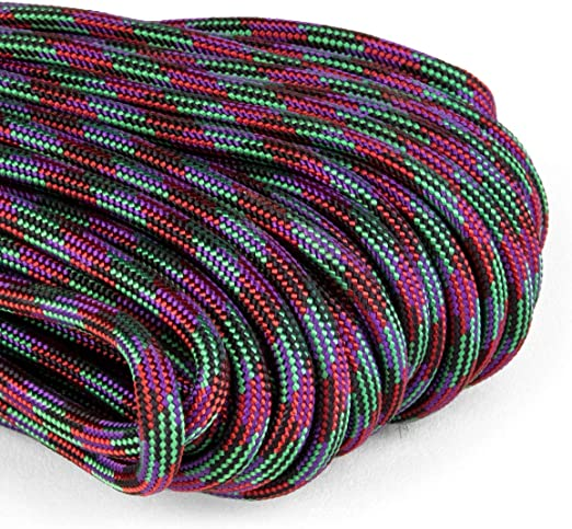 Atwood Rope MFG Color Changing 550 Paracord 100 Feet 7-Strand Core Nylon Parachute Cord Outside Survival Gear Made in USA Keychain Bracelets Handle Wraps Lanyards