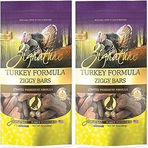Zignature Turkey Ziggy Bars Dog Treats 12 Ounce Bag. (New) 2 Pack