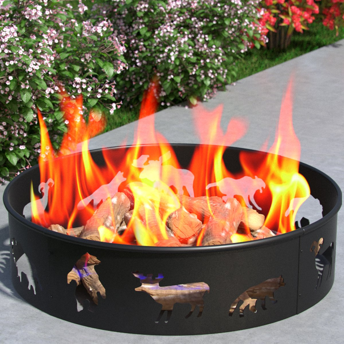 "Bear Moose Fox 28"" Backyard Garden Home Star and Moon Light Wood Fire Pit Fire Ring. For RV, Camping, and Outdoor Fireplace. Works as Firewood Patio Heater, Stove or Firebowl without Propane Gas by Regal Flame"