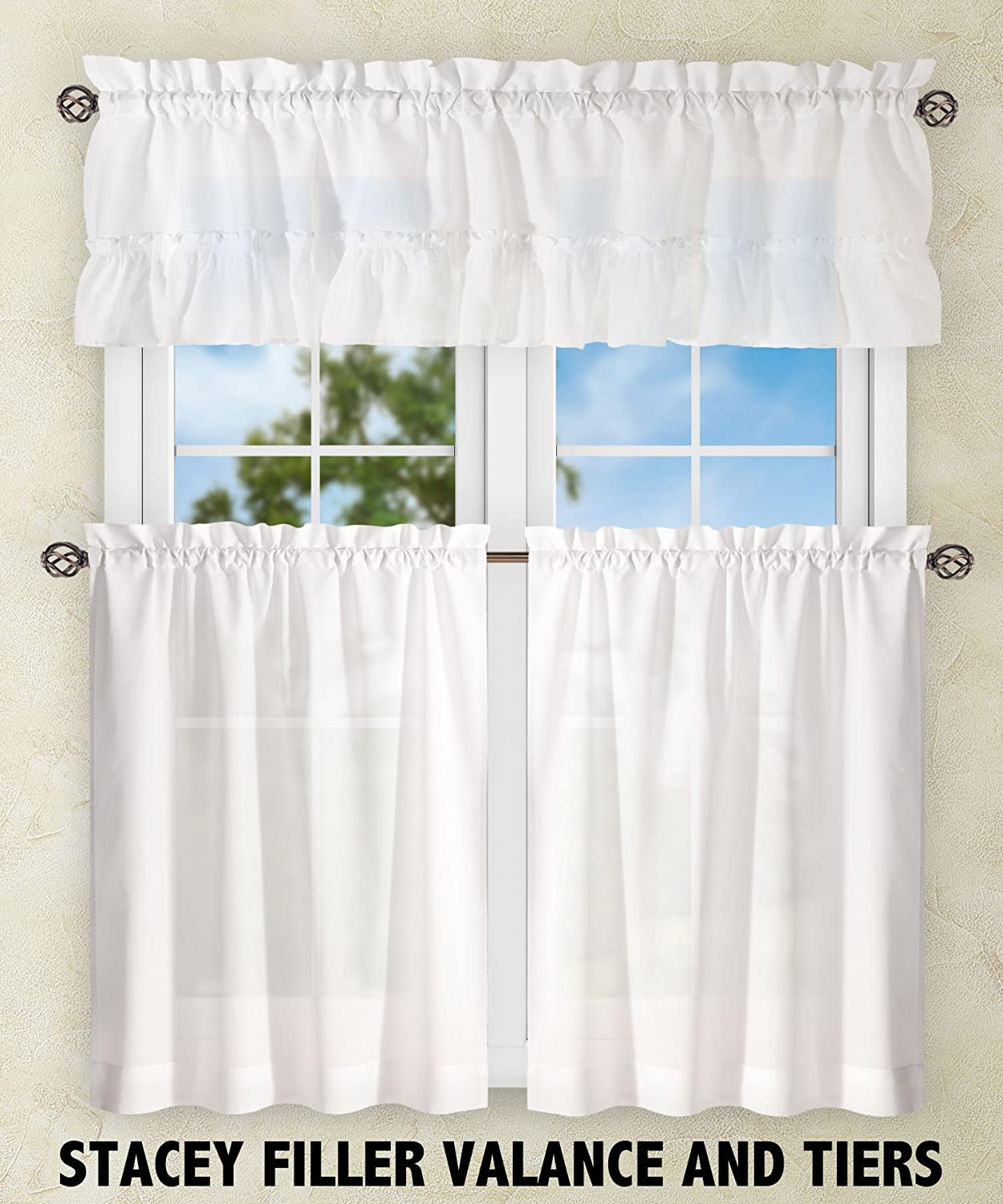 "Ellis Curtain Stacey 56-by-45"" Tailored Tier Pair Curtains, White"