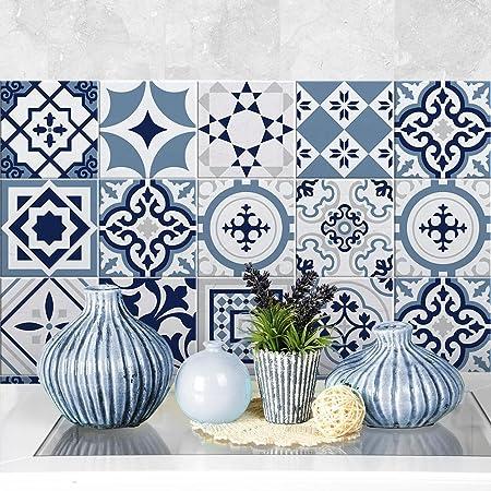Piezas Stickers Azulejos PS00095 36 Collage de Azulejos Adhesivo Decorativo para Azulejos para ba/ño y Cocina Adhesivo para Azulejos 10x10 cm Damasco