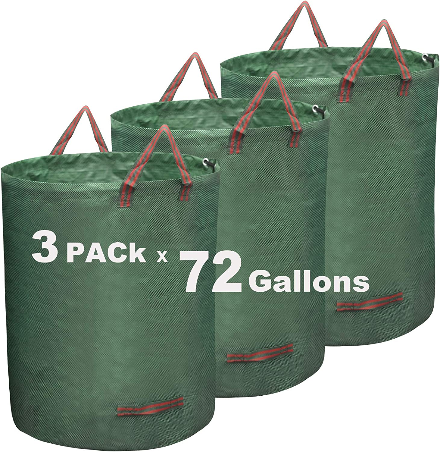 FunnySeed 72 Gallon Garden Leaf Bags 3-Pack Reusable Yard Waste Bags Gardening Collapsible Rubbish Container Bags with Handles (72G)