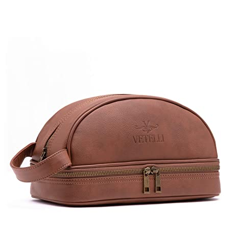 5525e05bd862 Image Unavailable. Vetelli Leather Toiletry Bag For Men (Dopp Kit) with free  Travel Bottles.