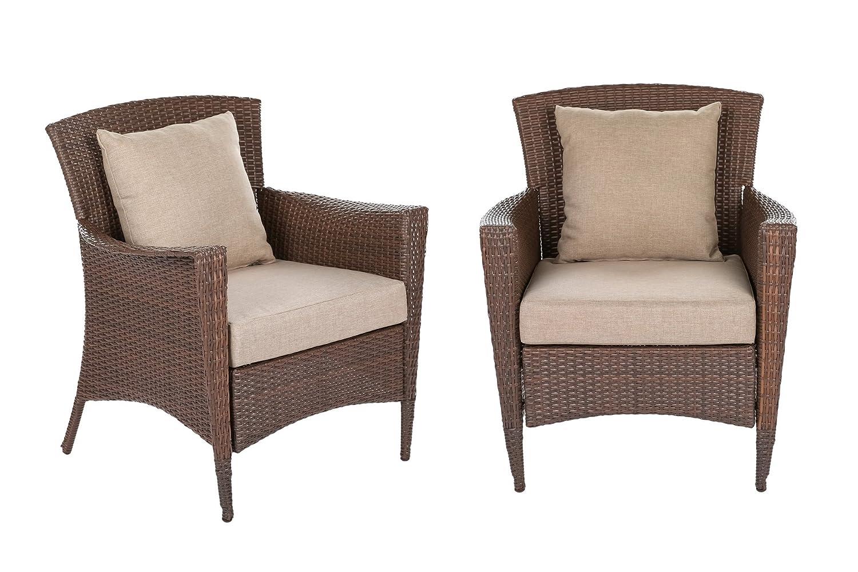 Amazon com w unlimited galleon collection outdoor furniture 2 bistro chair set patio furniture dark brown rattan wicker lounger deep seating garden