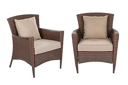 W Unlimited Galleon Collection Outdoor Furniture 2 Bistro Chair Set Patio  Furniture Dark Brown Rattan Wicker