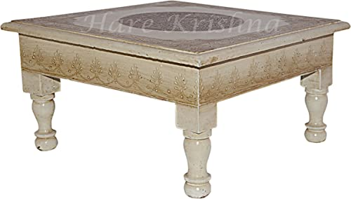 Hare Krishna Hand Pained Square Shape Wooden Puja Chowki Bedside Chair Table Christmas Diwali Decoration 11 X 11 X 5.5 Inche