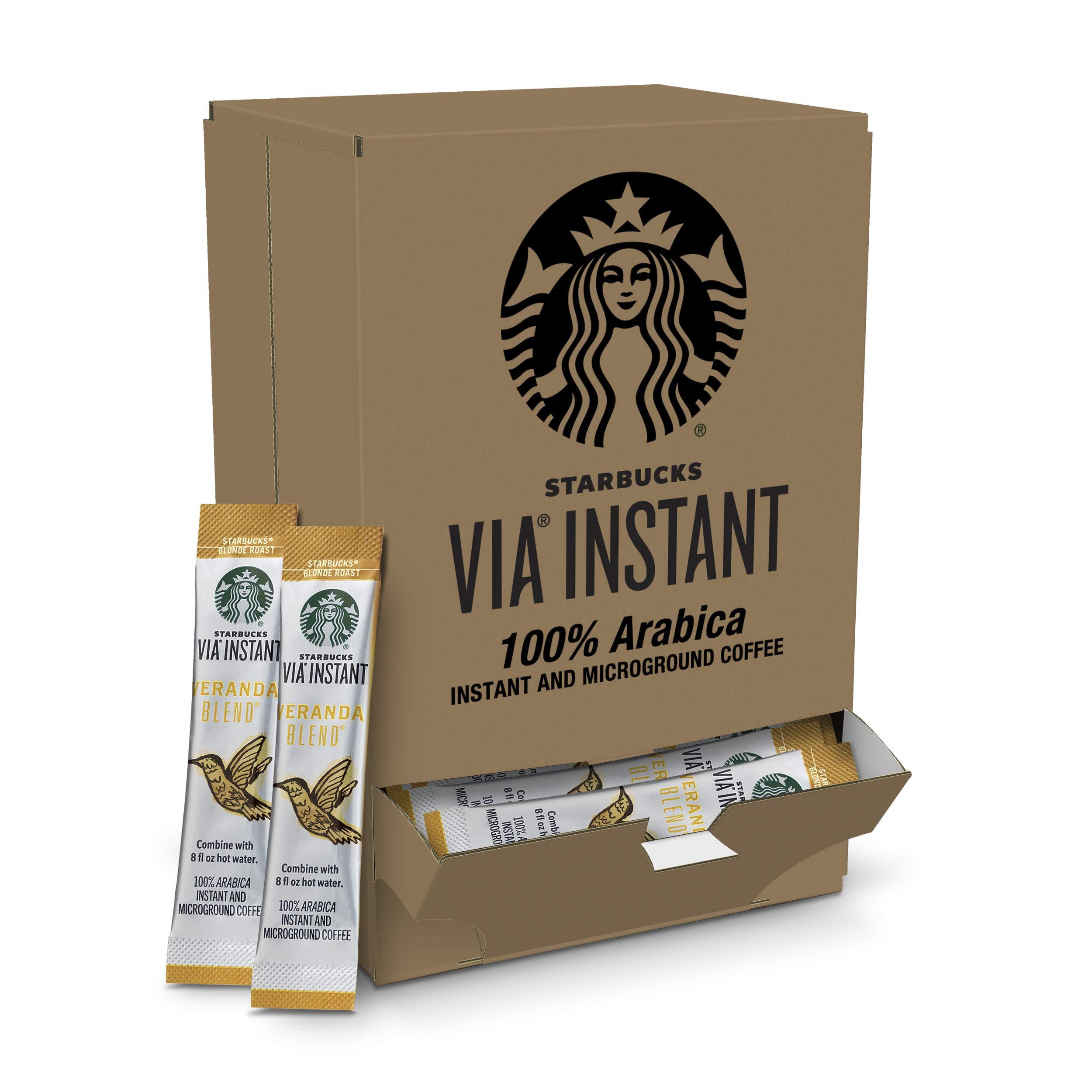 Starbucks VIA Instant Veranda Roast Blonde Roast Coffee (1 box of 50 packets)