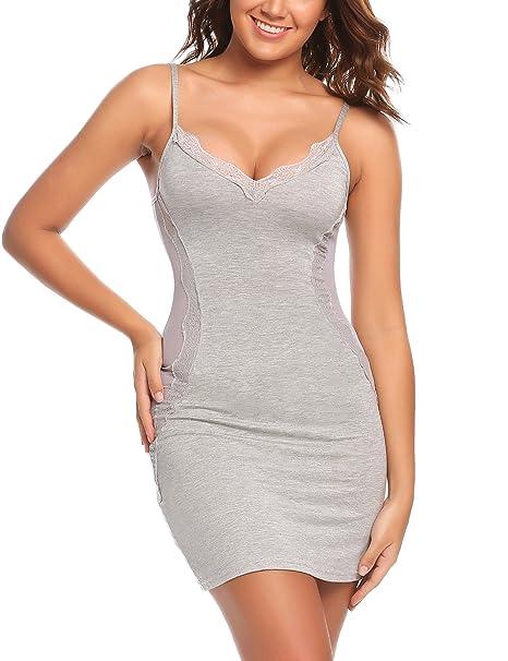 Avidlove Women Chemise Lingerie Sexy Nightie Full Slips Lace Babydoll Sleepwear Dress (S, Gray