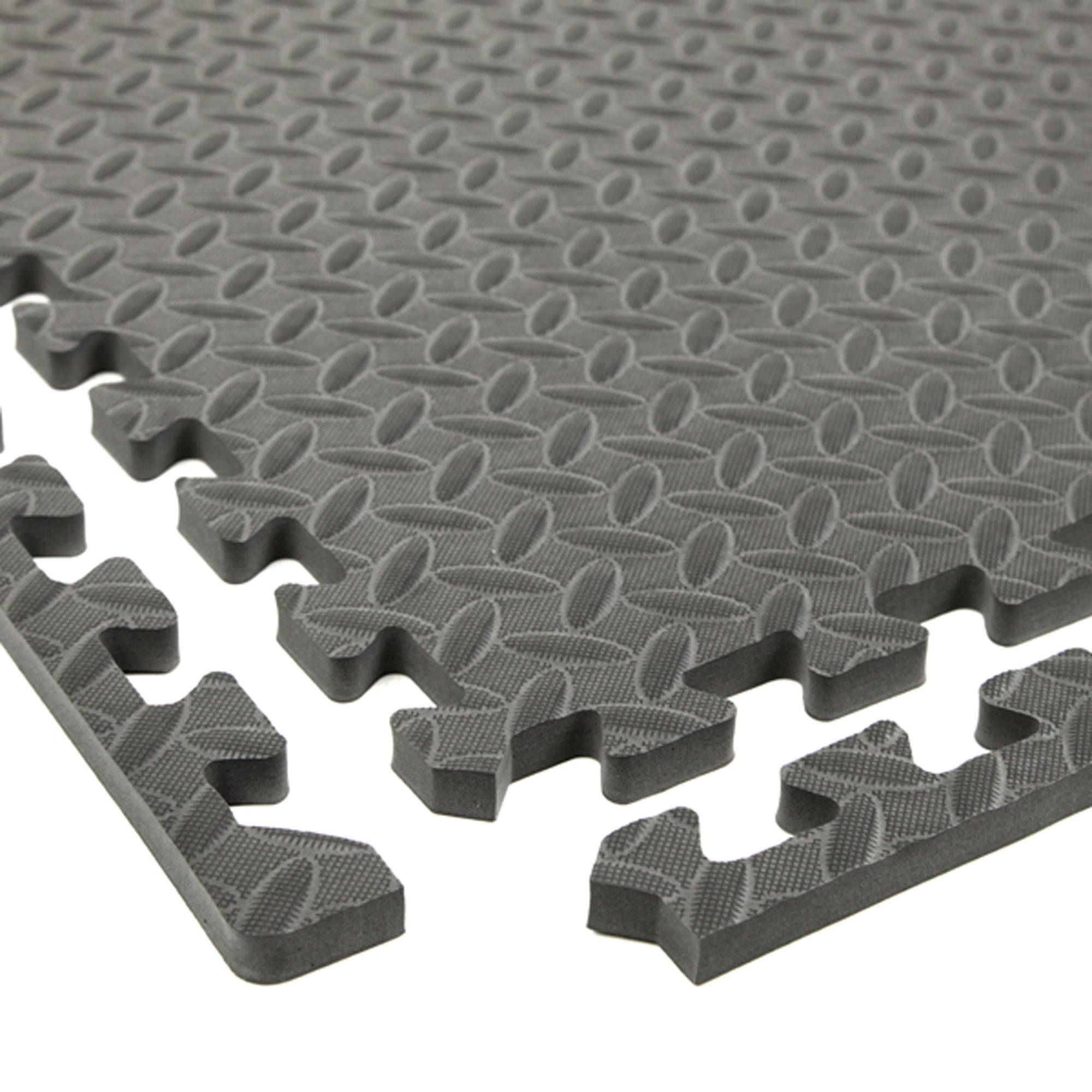 Incstores Diamond Soft Extra Thick Anti Fatigue Interlocking Foam Tiles - 2ft x 2ft Tiles Ideal for Laundry Room Flooring, Kitchen Mats, Exercise Mats, and Garage Mats (Grey, 36 Tile Pack, 144 Sqft) by IncStores (Image #1)