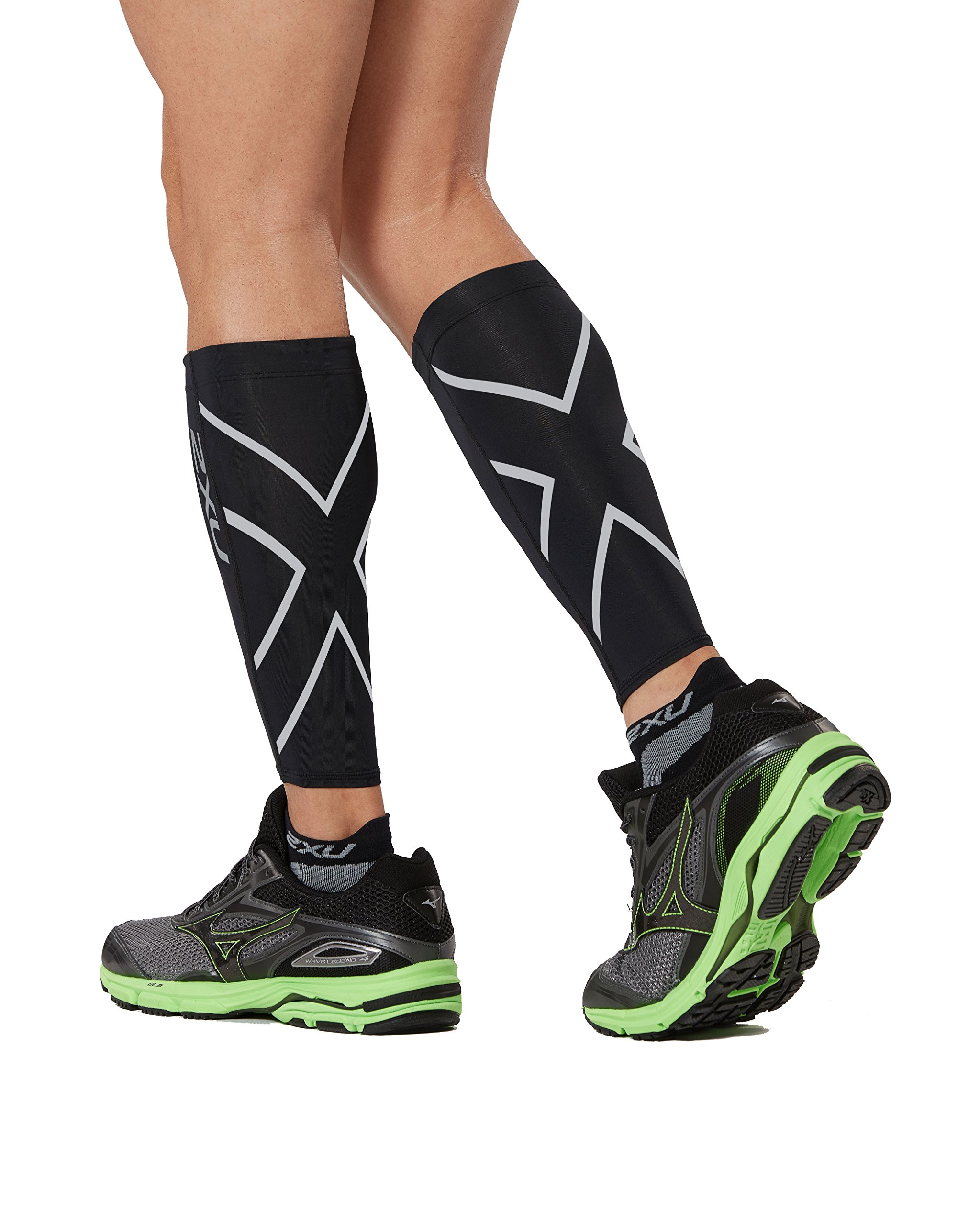 2XU Compression Calf Guards, Black/Black, Large by 2XU