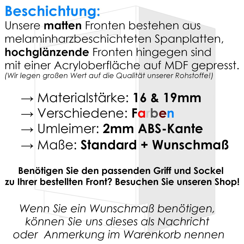 Geschirrsp/ülerfront 19mm voll- Buche, Wunschma/ß teilintegriert und nach Ma/ß