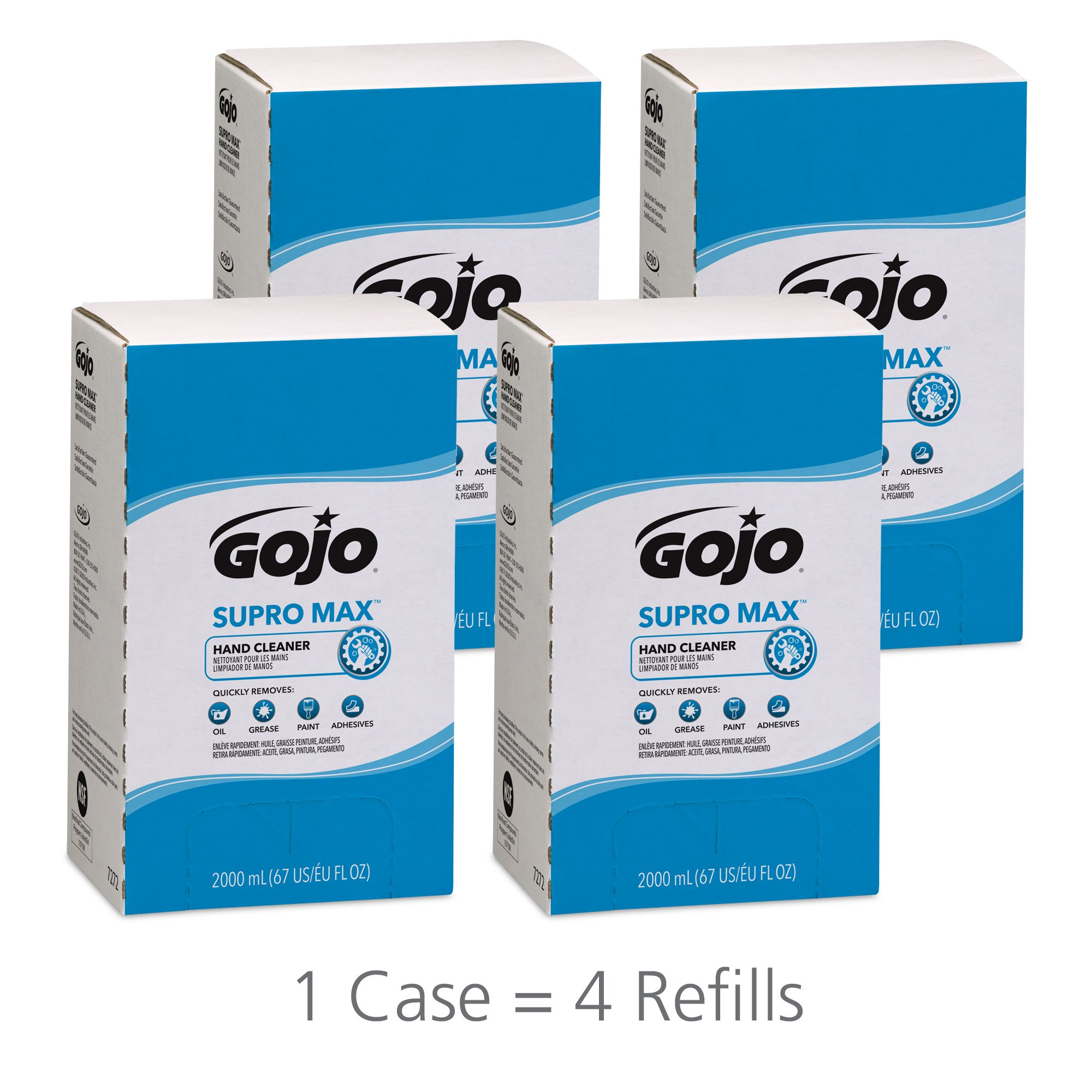 GOJO 727204CT Supro Max Hand Cleaner, 2000mL Pouch(pack of 4)